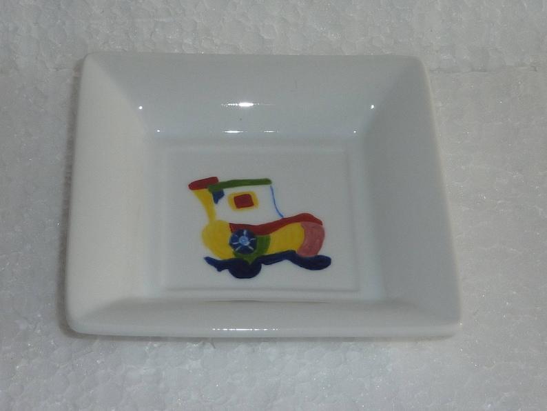 Quatre porte-savon en porcelaine de Limoges peinte main motif image 0