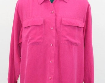 b5b199e1fab26 30% Off Sale Hot Pink Silk Blouse with front flap pockets