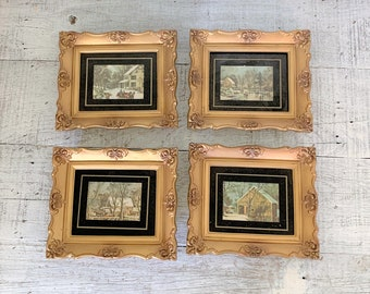 71c893ba93b0 Wall Art 4 Small Gold Frame Art Antique Wall Hangings Ornate Gold Frame  French Country Art Small Grouping of Frames Scenery Wall Art