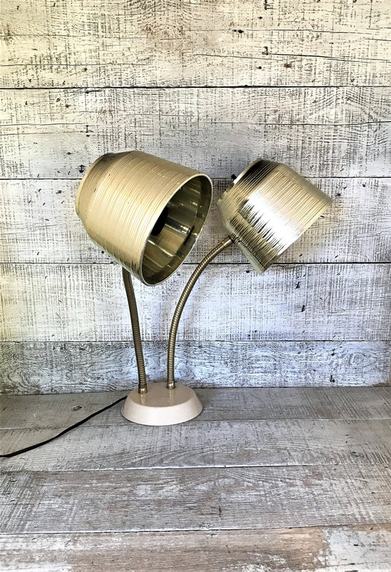Lamp Double Gooseneck Lamp Desk Lamp Industrial Table Lamp Mid Etsy
