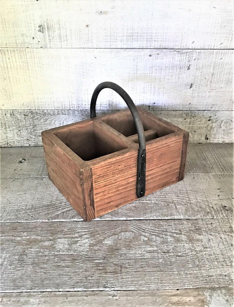 Basket Wood Basket Desk Organizer Wooden Desk Caddy Wood Planter Rustic Basket Farmhouse Basket Craft Storage Primitive Basket