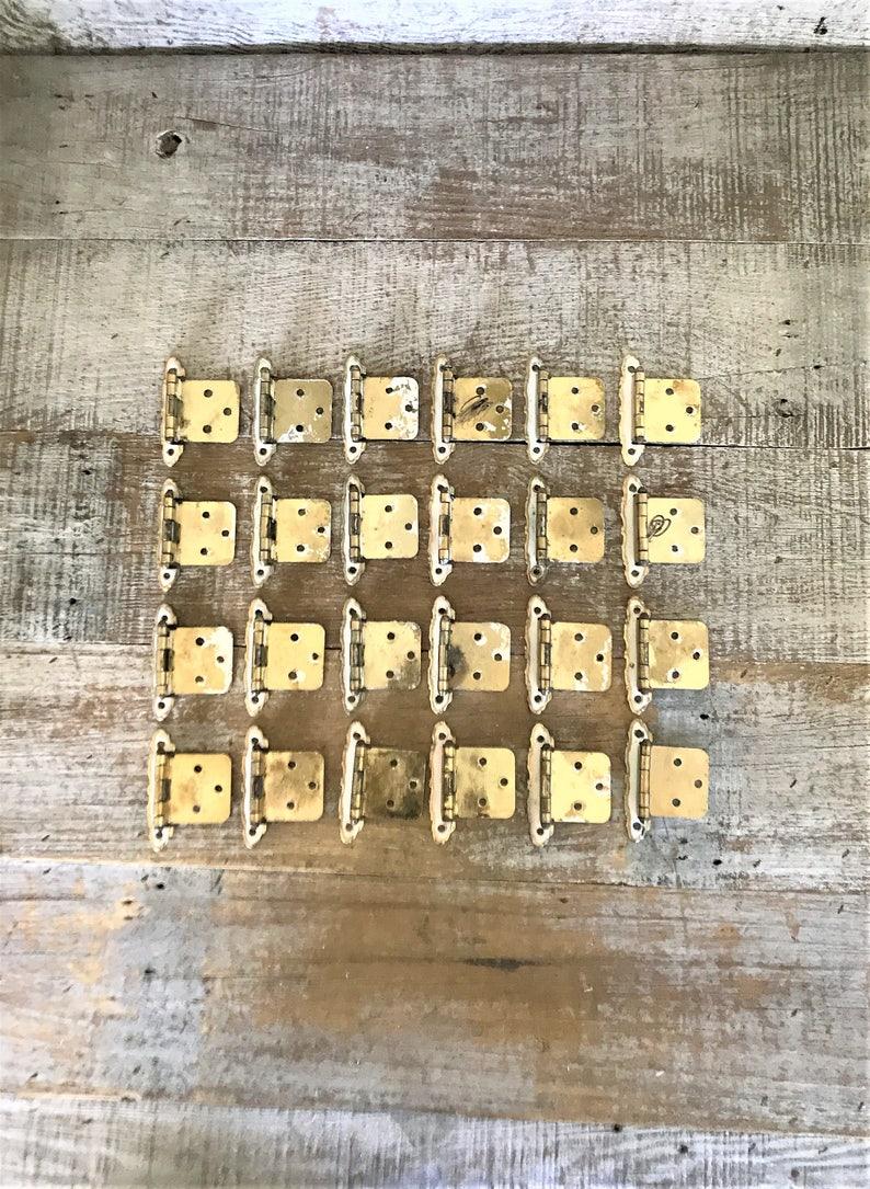 Hinges 24 Cabinet Door Hinges Old Hinges Brass Hinges Shabby Hinges Mid Century Flush Cabinet Door Hinges Kitchen Hardware Cabinet Hardware