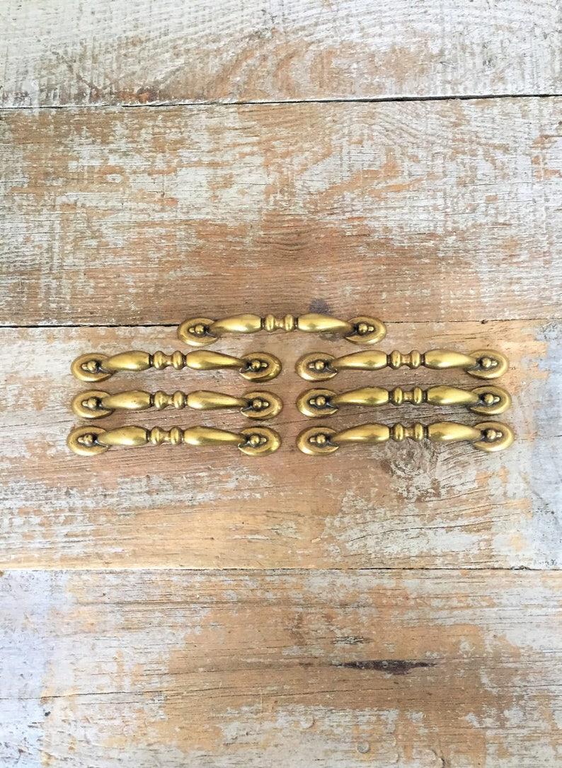 Drawer Handles 7 Drawer Pulls Mid Century Hardware Brass Handles Dresser Drawer Handles Cabinet Door Pulls Brass Pulls Home Improvement