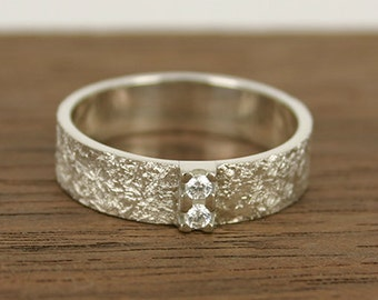 Wedding Ring Structured Wedding Band 2 diamonds- 5 mm wide band, Square Structured Wedding Band, hand made – contemporary jewelry