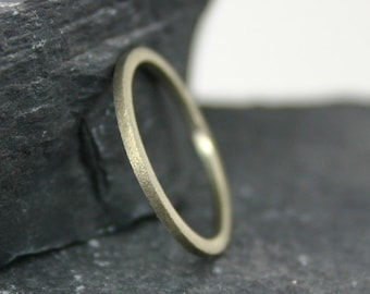 Gold Brushed Square Stacking Band Ring- 14k yellow gold ring – one thin square– hand made jewelry – 14k gold
