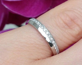 White Gold Diamond half eternity ring – 14k white gold – hammered gold– rhodinated gold - hand made jewelry