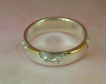 Size 5.25 ready to ship - Fusion Ring silver gold ring–  sterling silver and 14k yellow gold