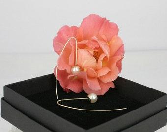 Pearl earrings 14k dangle drop  - white cultive pearls, 14k yellow gold - modern dangle pearl earrings – contemporary earrings
