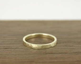 Wedding Ring Gold Hammered & Brushed, Hammered and Satin Brushed gold Wedding Band –14 k yellow gold - contemporary jewelry