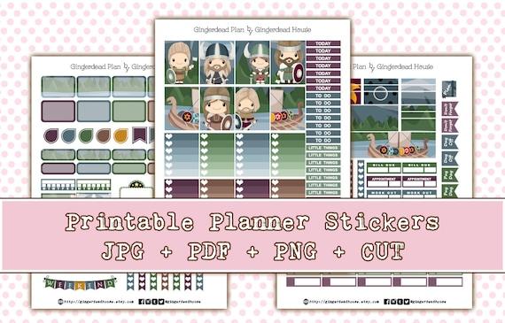 image about Printable Vikings Schedule identify Lil Vikings - Adorable Viking Printable Planner Sticker Package - EC Vertical