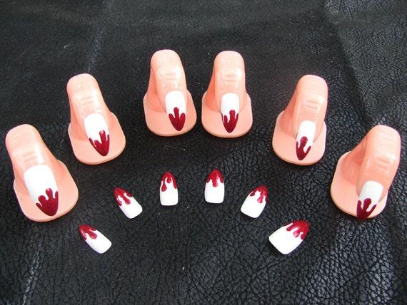 Vampire Fang Blood Drip Acrylic Nail Art Etsy