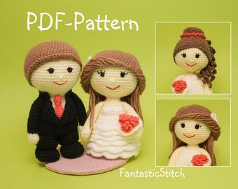 Crochet pattern wedding bride groom couple ruffle dress amigurumi PDF