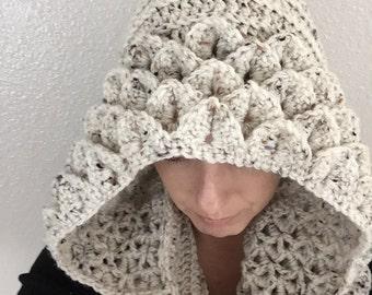 Ready To Ship - Handmade Crocodile Stitch Crocheted Hooded Cowl