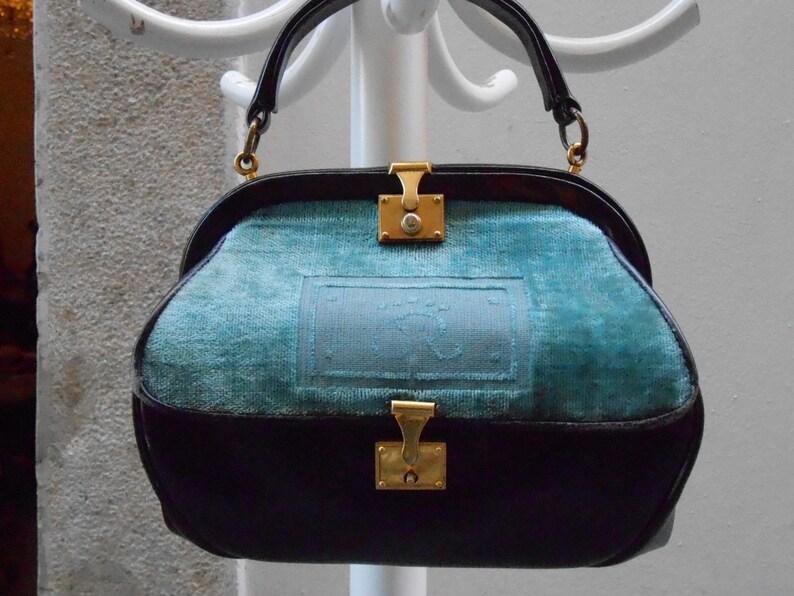 Vintage Roberta di Camerino borsa in pelle nera e velluto  8d844247818