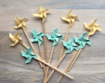 Mint and Gold Stir Sticks