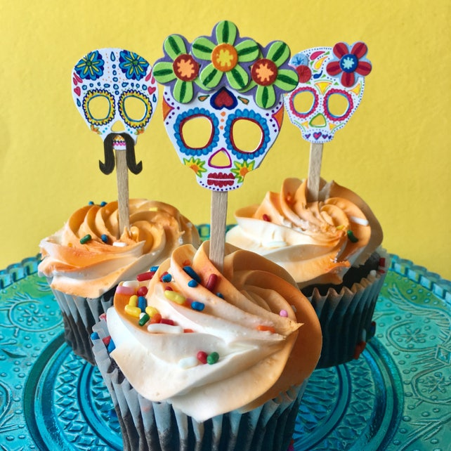 Sugar Skull Cupcake Toppers Coco Movie Inspired Cupcake | Etsy