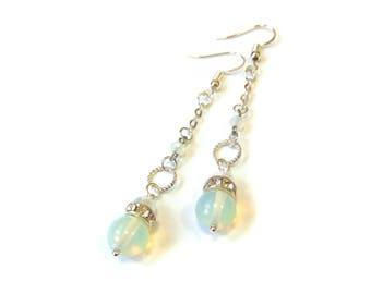 Moonstone earrings Dangle long earrings gemstone Moonstone dangle earrings sterling silver Long chain earrings Under 20 dollars