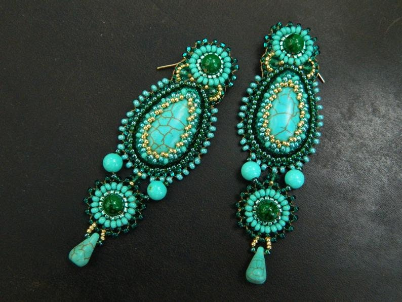 Bead embroidered jewelry set Turquoise chandelier earrings Statement brooch pin for women