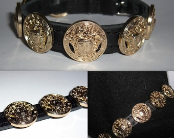 38433c76490 Versace All Gold Medusa Head Studded Designer Collar.Small puppy or cat  size. Custom made. Bling up your dog or cat. Brand new.
