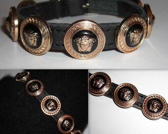 b76f1cac9c0 Versace Gold Medusa Head Studded Designer Collar. Small puppy or cat size.  Custom made. Bling up your dog or cat. Ships within 3-5 days.