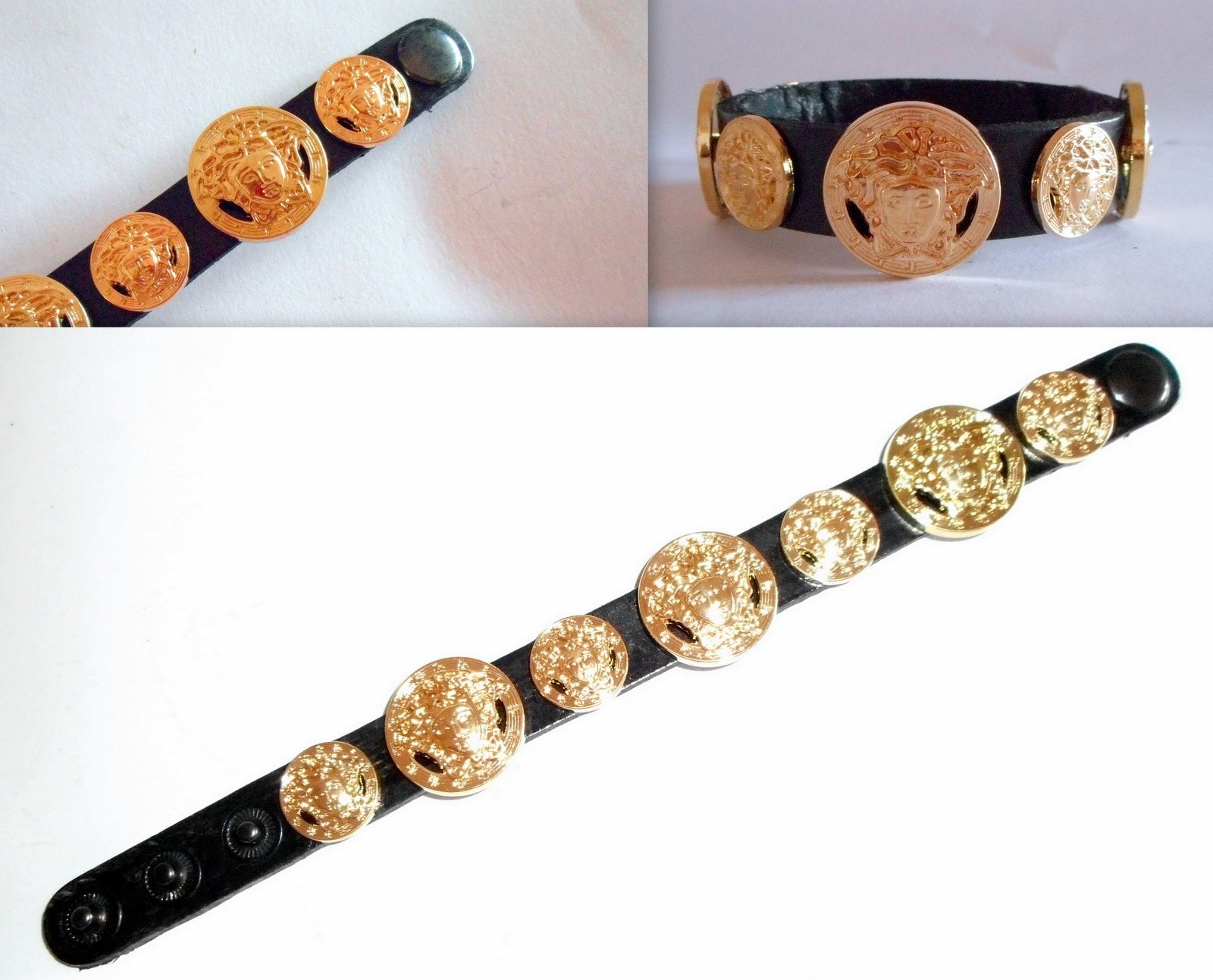 a23bec0f576 Versace Medusa Head All Gold Studded Designer Unisex Leather
