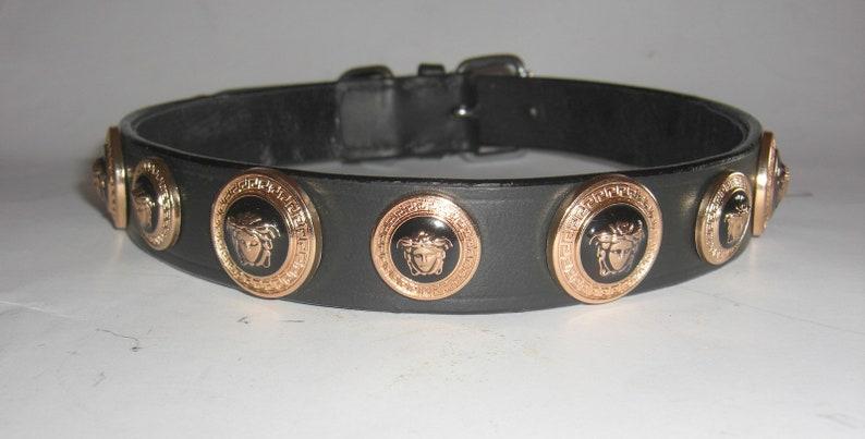 047d3ad61fa Versace Gold Medusa Head Studded Designer Dog collar. Super