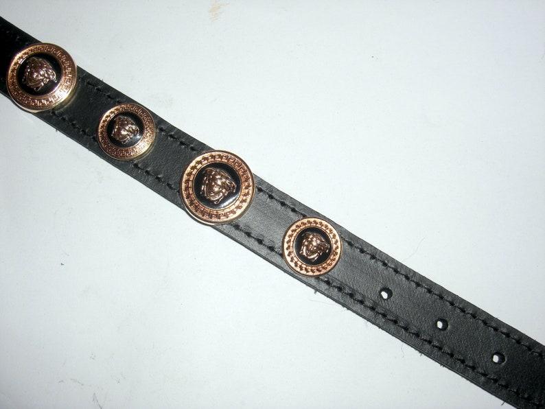f00404df84c Versace gold Medusa Head Studded Designer dog collar. Medium