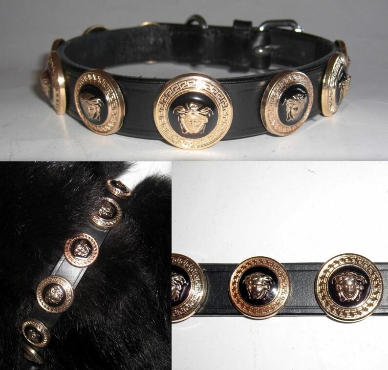 946ab821caa Versace Gold Medusa Head Studded Designer dog collar. Large