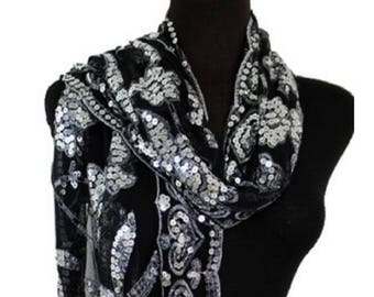 739f7533be2fb Women's Scarves Mother of the Bride Black Shawl Silver Sequins Beaded Scarf  Cover Up Wrap Bridal Accessories Evening Prom Wraps Shawls