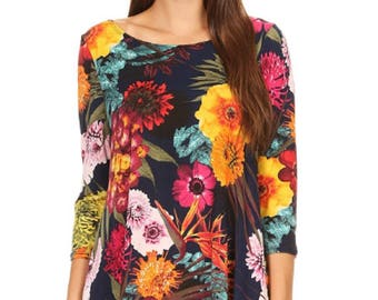 4303e46f837 Woman s Plus Missy Tropical Hawaiian Multi color Floral print Tunic Fashion  Top in a loose fit 3 4 length sleeves S to 2X