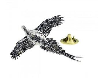 Lapel Badge B16 English Pewter Standing Pheasant Game Bird Pin Badge Tie Pin
