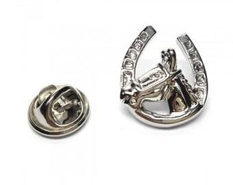 Lucky Horseshoe /& Horse/'s Head Gilt Pin Badge LAST FEW