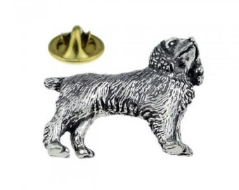 Silver Spaniel Pheasant In Mouth Pewter Label Pin Badge Handmade in England New