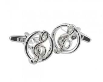Solid Brass Premium Cufflinks with Gift Box Music Teacher Singer Player Violin Piano Instrument DJ COLLAR AND CUFFS LONDON Silver Color Treble Clef Musical