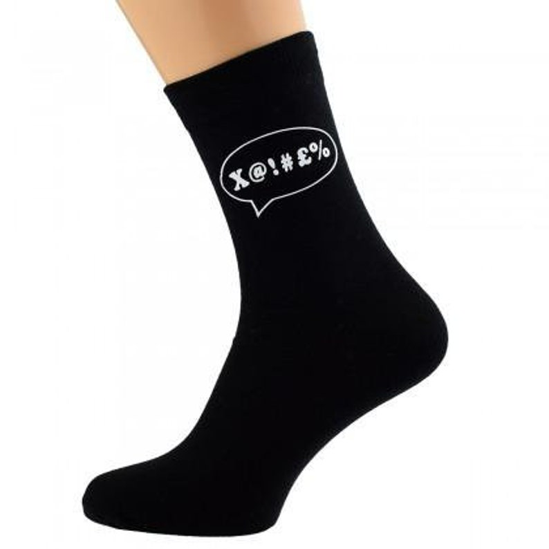 Expletive Speech Bubble Design Mens Black Socks