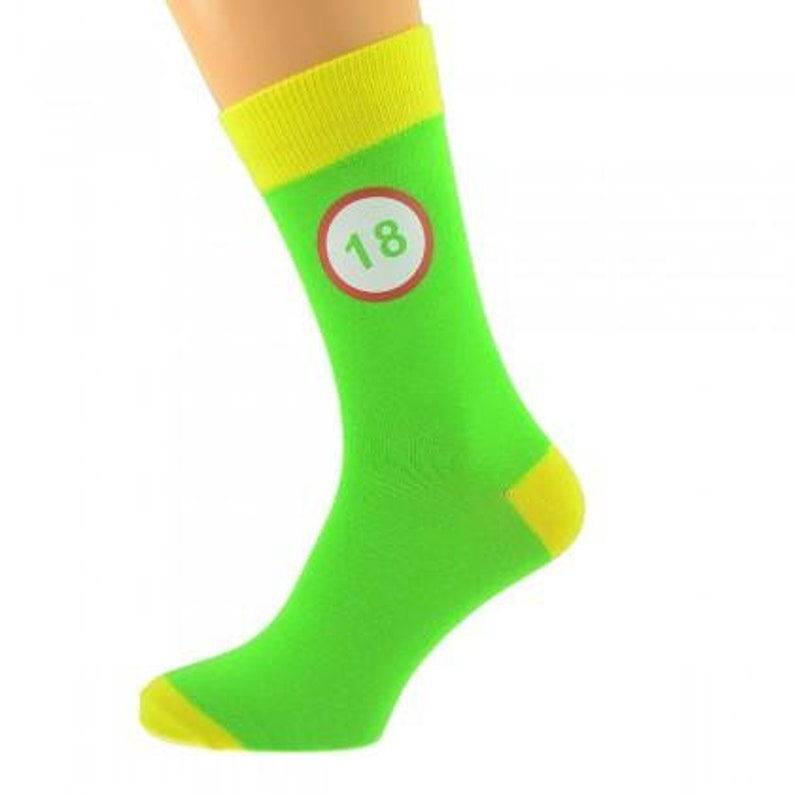 Green /& Yellow Unisex Socks Road Sign 18th Birthday