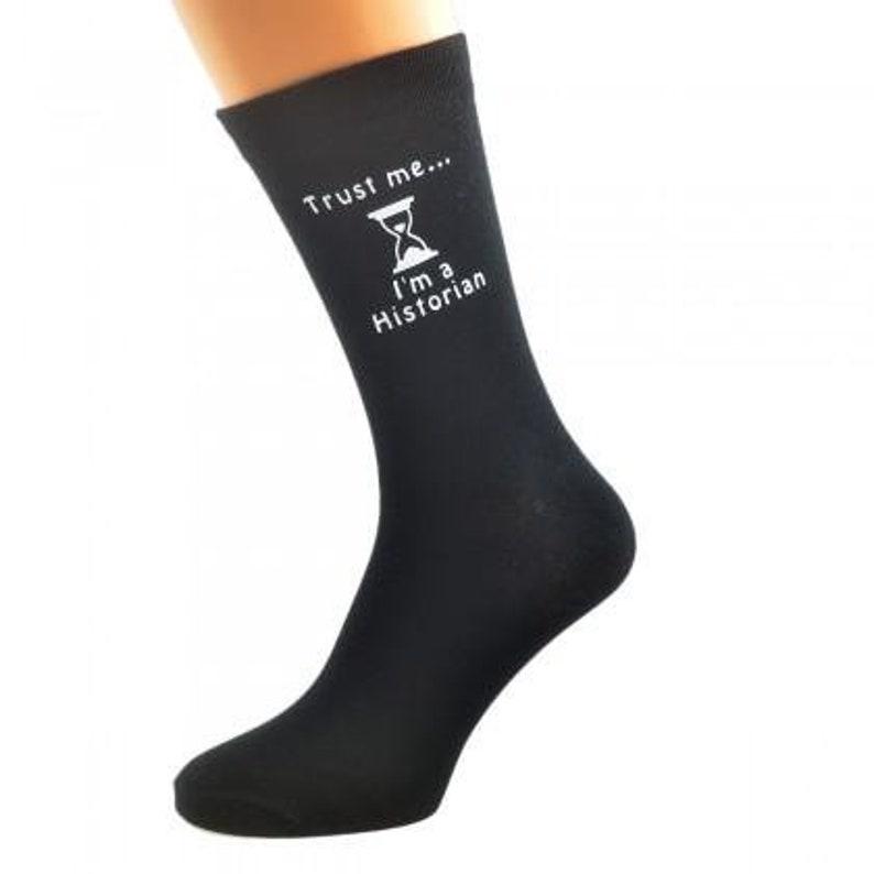 Trust me I/'m a Historian Mens Black Socks