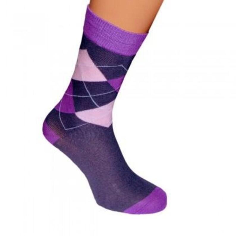 Purple Diamond Pattern Bright Mens Socks