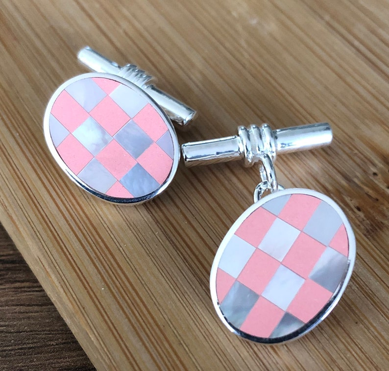 Sterling Silver Imitation Pink Coral and Mother of Pearl Cufflinks