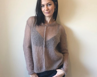 Rosy Brown Kid Mohair Pullover / Cropped Sweater / Ready to Ship