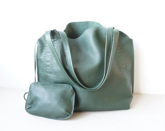Green Leather Shoulder Bag /  Women Soft Slouchy Hobo Bag /Medium Shoulder Bag With Wallet/ Unlined