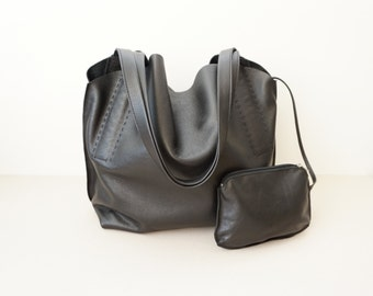 Black Leather Shoulder Bag /  Women Soft Slouchy Hobo Bag / Medium Shoulder Bag   / Unlined