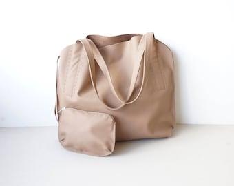 Neutral Beige Leather Shoulder Bag /  Women Slouchy Hobo Bag / Medium Shoulder Bag with Purce  / Unlined