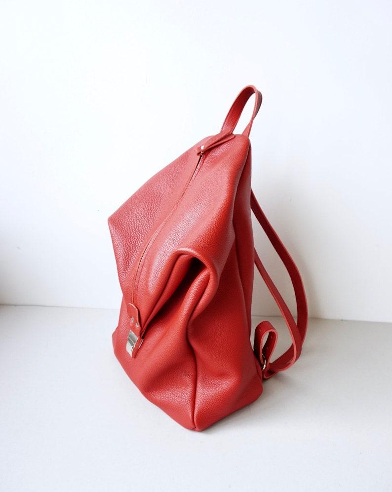 Soft Calf Leather Backpack  Red Minimalist Leather Bag   Traveller Bag  Lined 13 Laptop