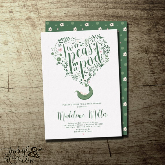 Two peas in a pod baby shower invitation twins baby shower etsy image 0 filmwisefo