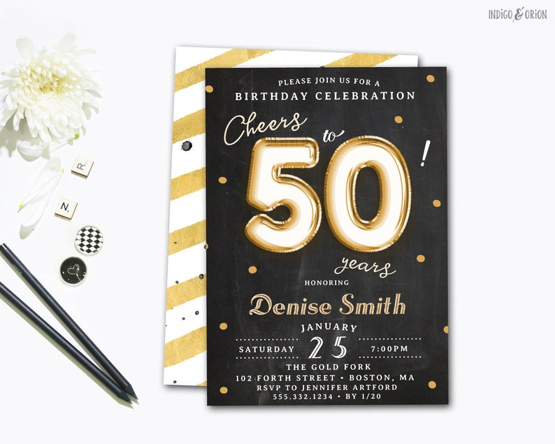 Cheers To 50 Years Invitation 50th Birthday Invitations