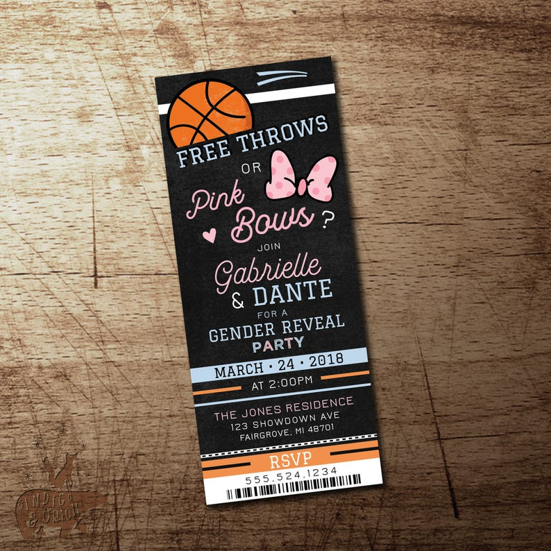 Basketball Gender Reveal Invitation Free Throws Or Pink Bows Party Ticket He She Blue High Quality Printable File