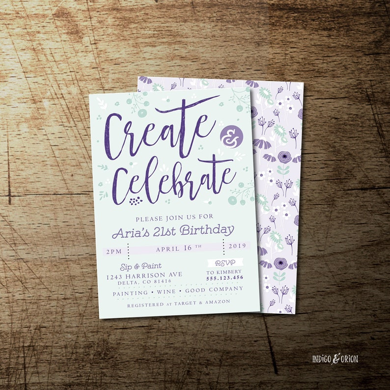 Create and Celebrate, Painting Party Invitation, wine art party printable  invites, 5x7, Adult Birthday invitations, bridal or holiday party