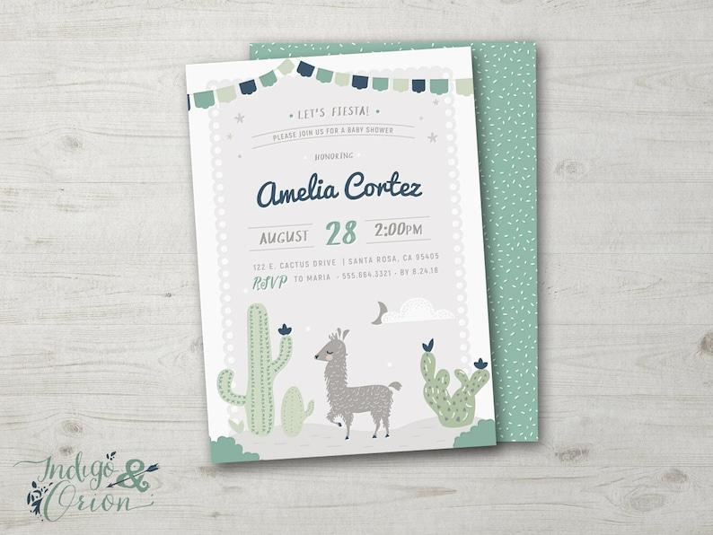 Llama Baby Shower Invitation Cactus Baby Shower Invitations Etsy