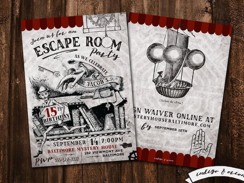 Escape Room Birthday Party Invitations Escape Party Etsy